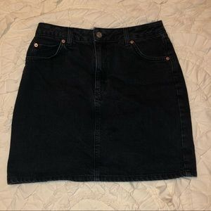 Topshop Black Denim Mini Skirt
